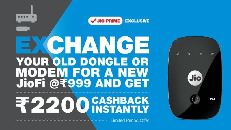 Jio Launches Exchange Offer for JioFi With Rs. 2,200 Cashback