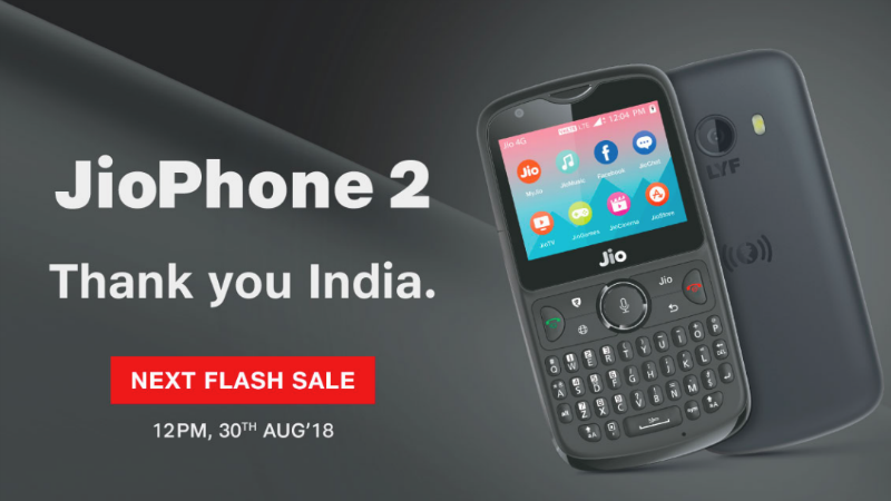 Jio Phone 2 Next Flash Sale Date Is August 30