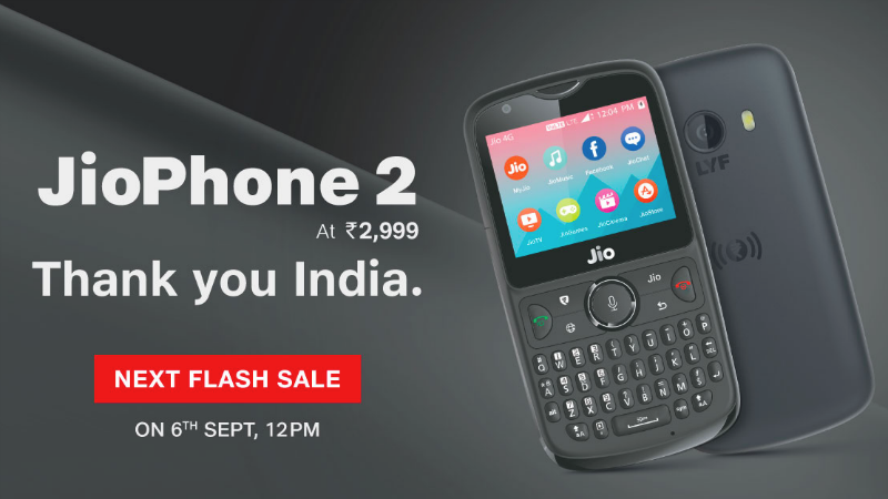 Jio Phone 2 Next Flash Sale Will Be on September 6