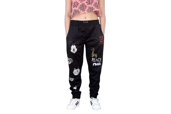 Yuvraah Women's Black Mickey Patch Track Pant