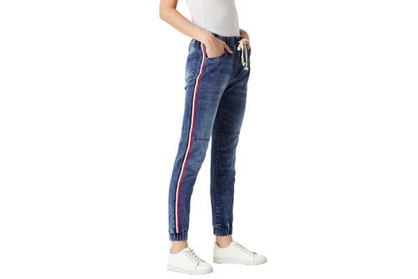 Miss Chase Women's Blue Twill Tape Denim Stretchable Jogger Pants