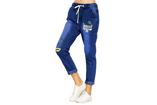 Mitra Creations Summer Letter Print Jeans for Women - Summer Letter Print Jeans-A