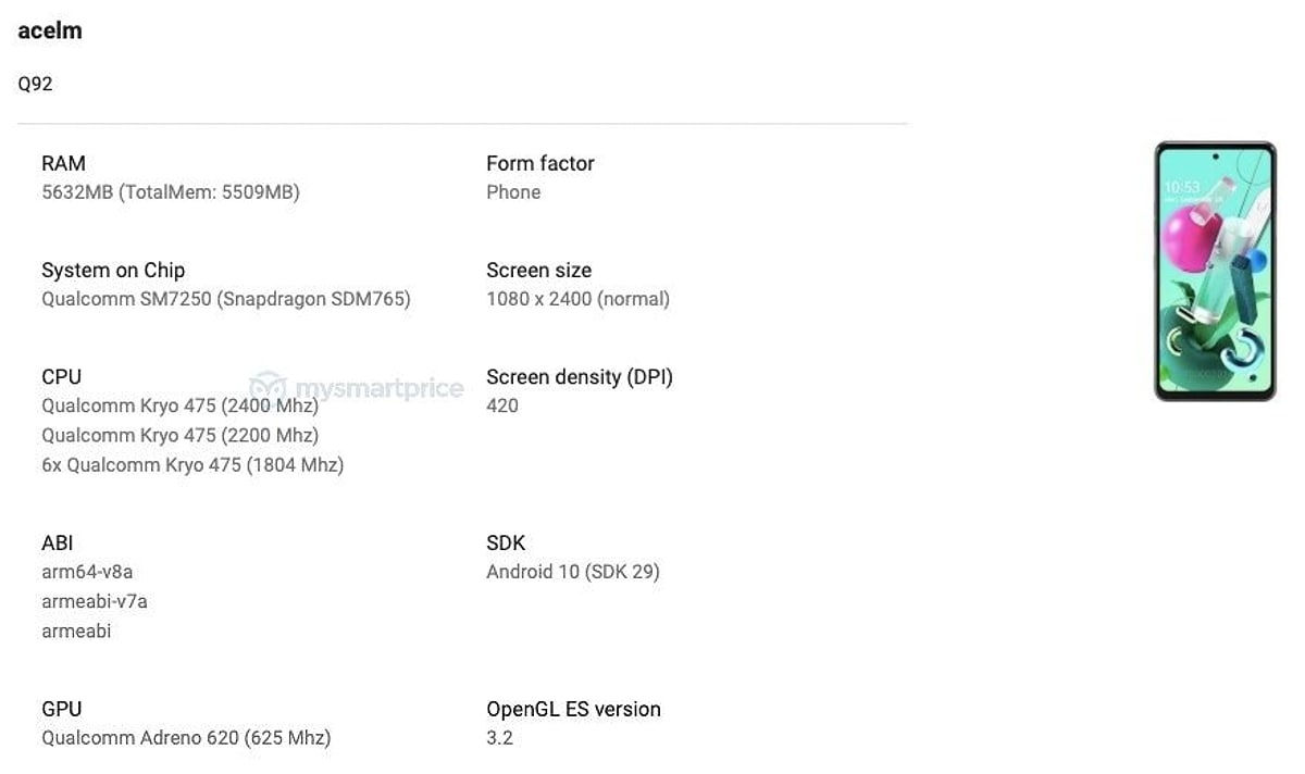 LG Q92 With Snapdragon 765G Spotted on Google Play Console, Pops Up on Bluetooth SIG as Well