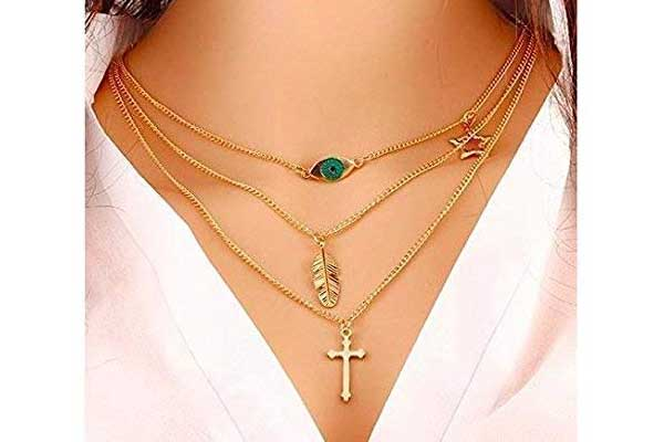 Top Fashion Stylish Multi-layered Cross/evil Eye/Leaf Pendant Necklace