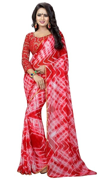 Leheriya Saree Modential Women Chiffon Bandhani and Laheriya Style Saree 1559132080932