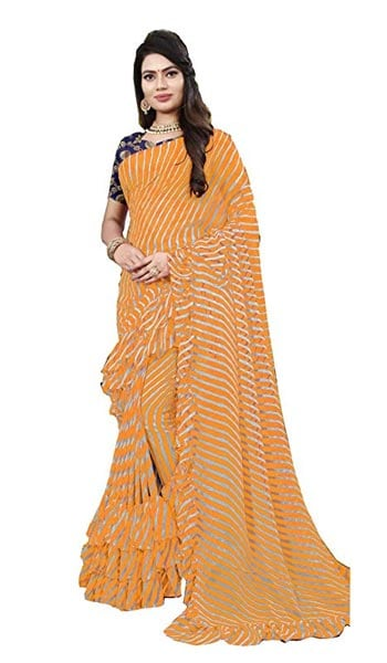 Leheriya Saree DEVPRIYA FASHION Orange Women Leheriya Saree 1559131246253