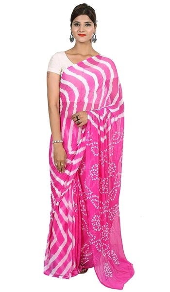 Leheriya Saree Fashion Store Women Chiffon Bandhej And Leheriya Printed Saree 1559133388839