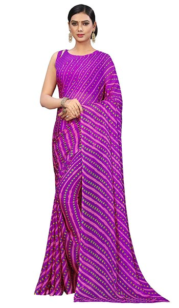 Leheriya Saree Roop Kashish Women Magenta Laheriya Chiffon Printed Saree And Chiffon Blouse 1559133185850