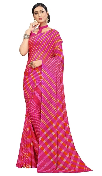 Leheriya Saree Roop Kashish Women Pink Laheriya Chiffon Printed Saree 1559131815493