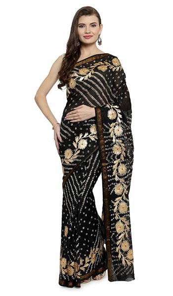 Leheriya Saree geroo jaipur Women Gota Worked Art Silk Bandhani Saree 1559131045061