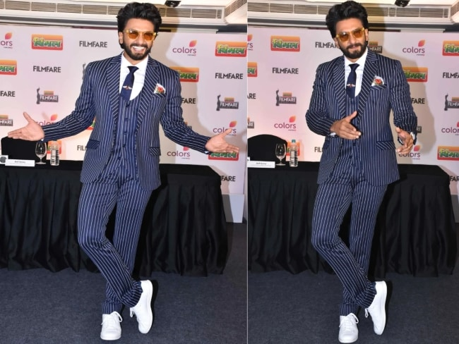 Look Dapper Like Ranveer Singh in Striped Suit 1559284394816
