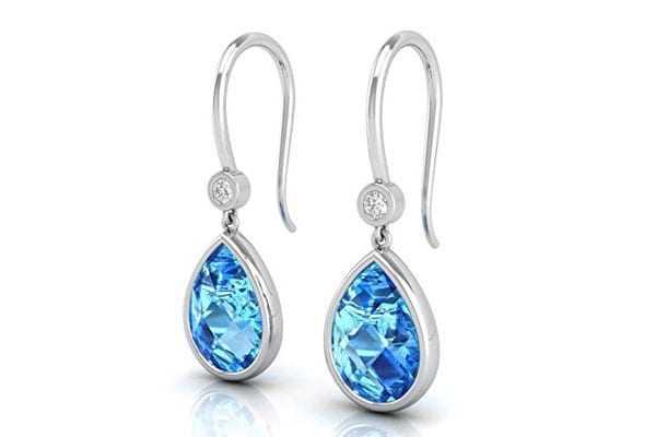 MISHKAA Glittering Checkercut Blue Stone Earrings 1611730936069