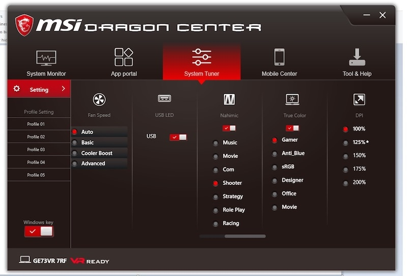 MSI GE73VR 7RF Raider MSI dragon center ndtv msi