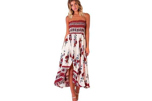 Malloom Women Off Shoulder Boho Long Maxi Evening Party Beach Dress 1556796222664