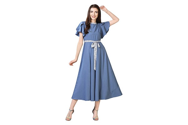 OOMPH Womens Crepe A Line Maxi Dress 1613072267140