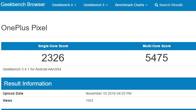 OnePlus Pixel Spotted on Geekbench Ahead of OnePlus 3T Launch