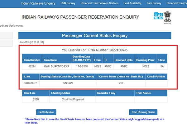 PNR Status Without Login 5 600