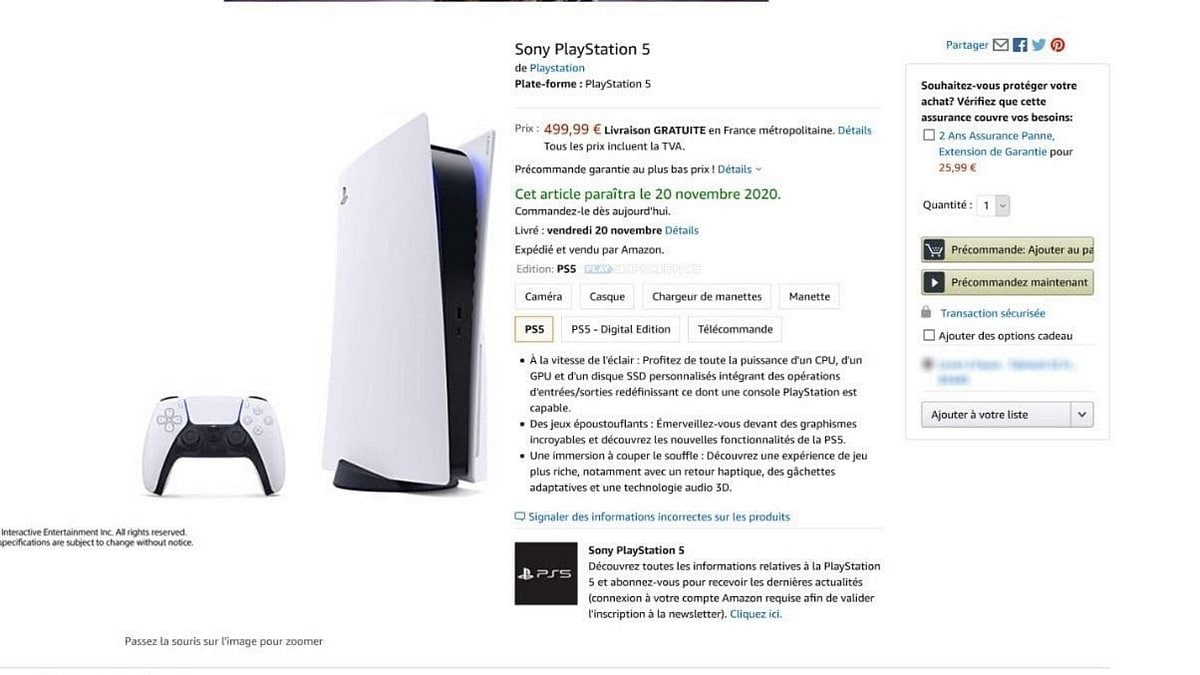 PlayStation 5 Price and Release Date Tipped via Amazon France Listing, May Start as Low as EUR 399