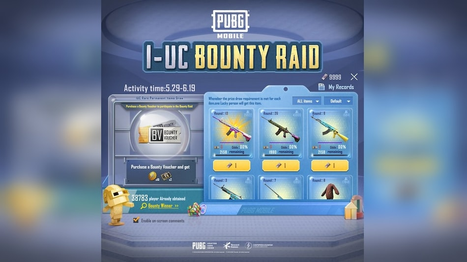 PUBG Mobile 1-UC Bounty Raid Offers a Chance to Win Cool Skins for 1 UC