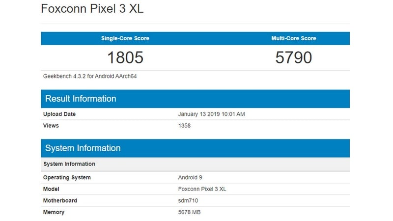 Pixel 3 Lite XL Allegedly Visits Geekbench, Shows Snapdragon 710 SoC and 6GB RAM