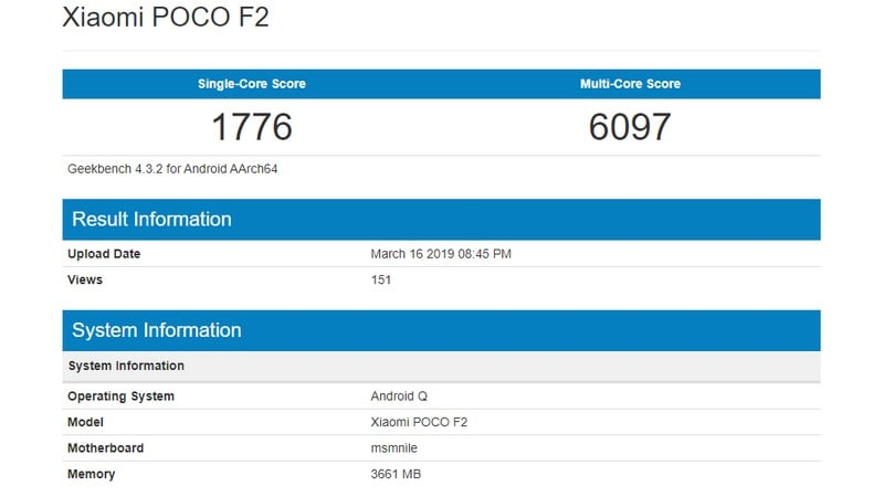Poco F2 Reportedly Spotted on Geekbench Packing Snapdragon 855 4GB of RAM