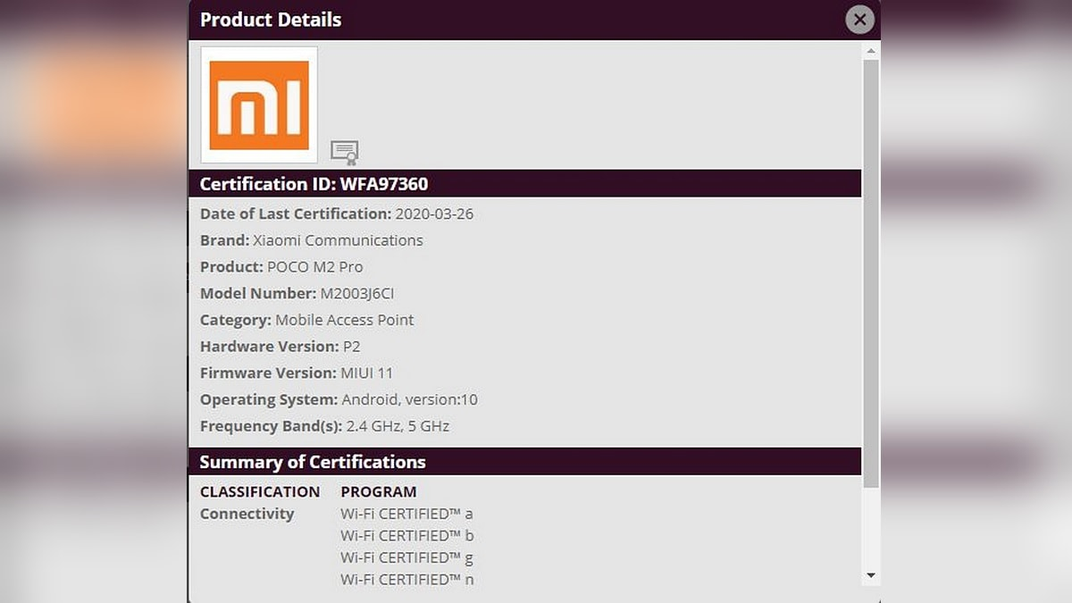 Poco M2 Pro Spotted in Bluetooth SIG, WiFi Alliance Listing, Dual Band Wi-Fi and Bluetooth 5 Tipped