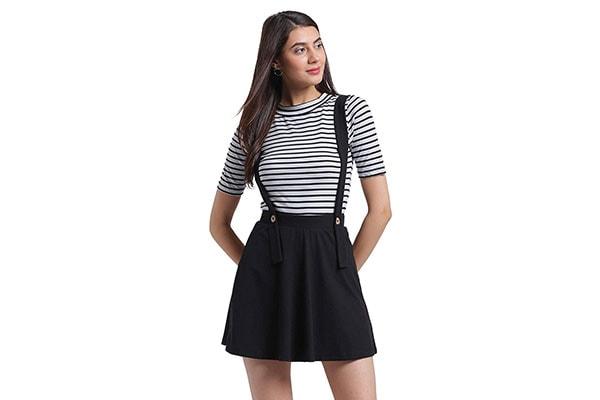 RIGO Black Suspender Skater Skirt for Women 1611946662597