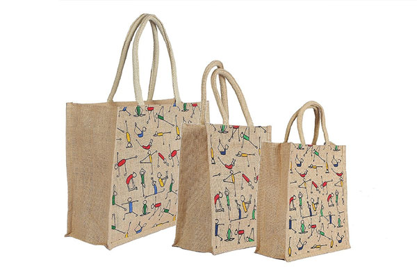 RangTeq Unisex Canvas Jute Yoga Print Beige Bag 1611082118485