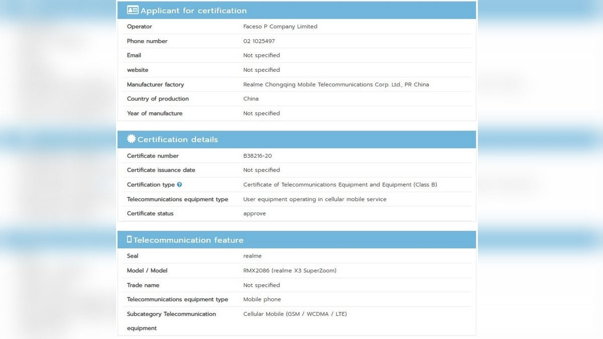 Realme X3 SuperZoom Spotted in Thai Regulator's Database With Model Number  RMX2086