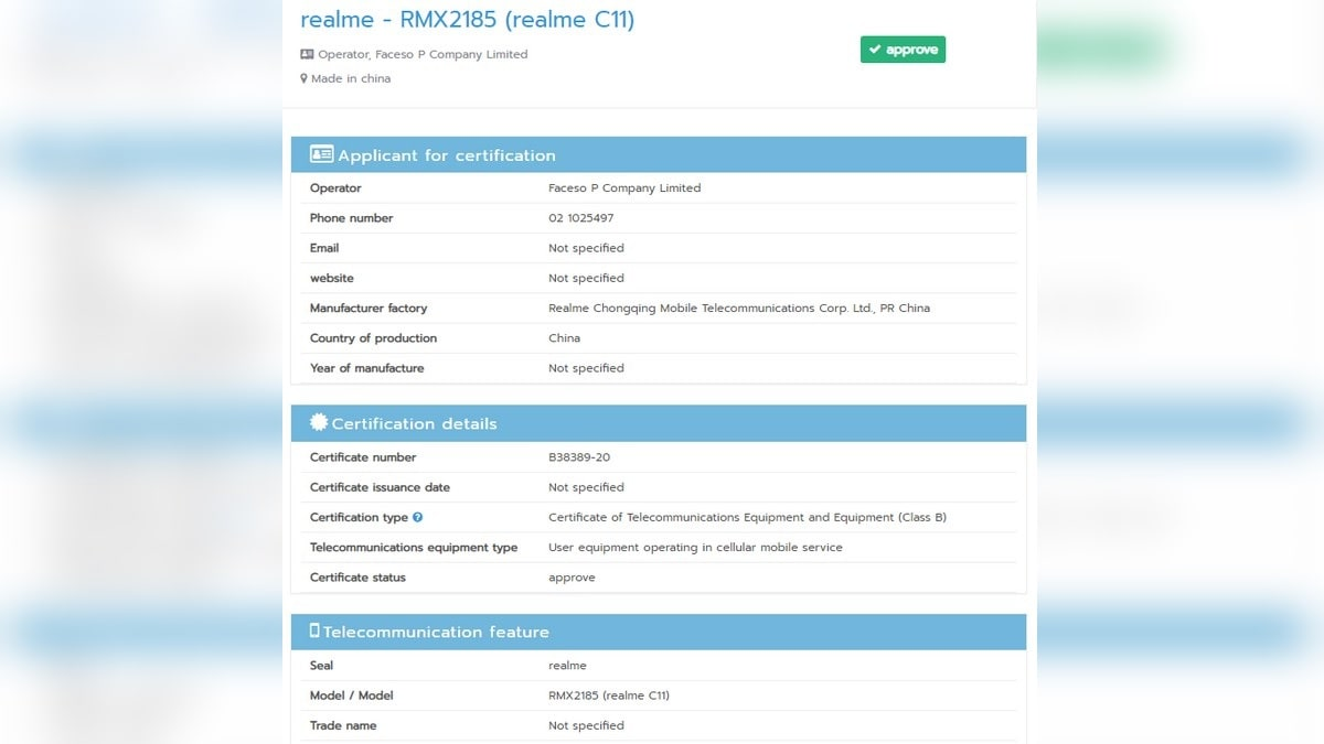 Realme C11 With Model Number RMX2185 Spotted on NBTC Certification Website