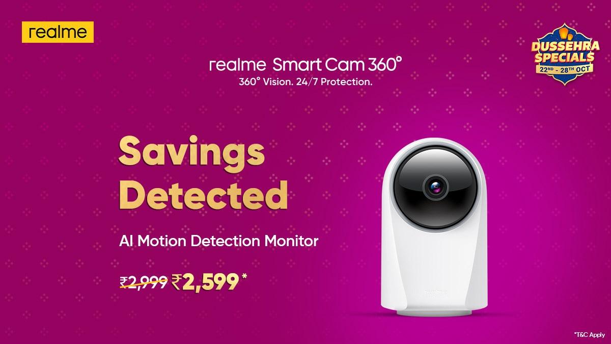 Realme Smart Cam 360 Gets Dussehra Specials Sale Discount on Flipkart, Priced at Rs. 2,599