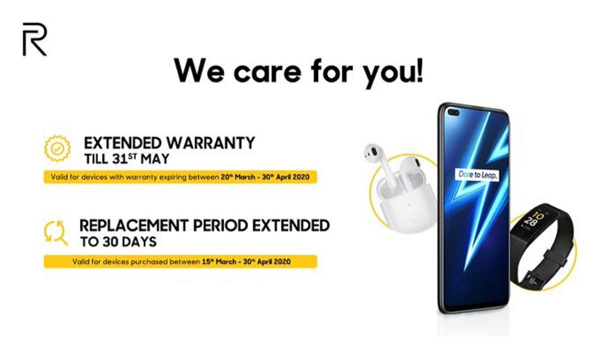 Realme India Extends Warranty, Replacement Periods During Coronavirus Lockdown