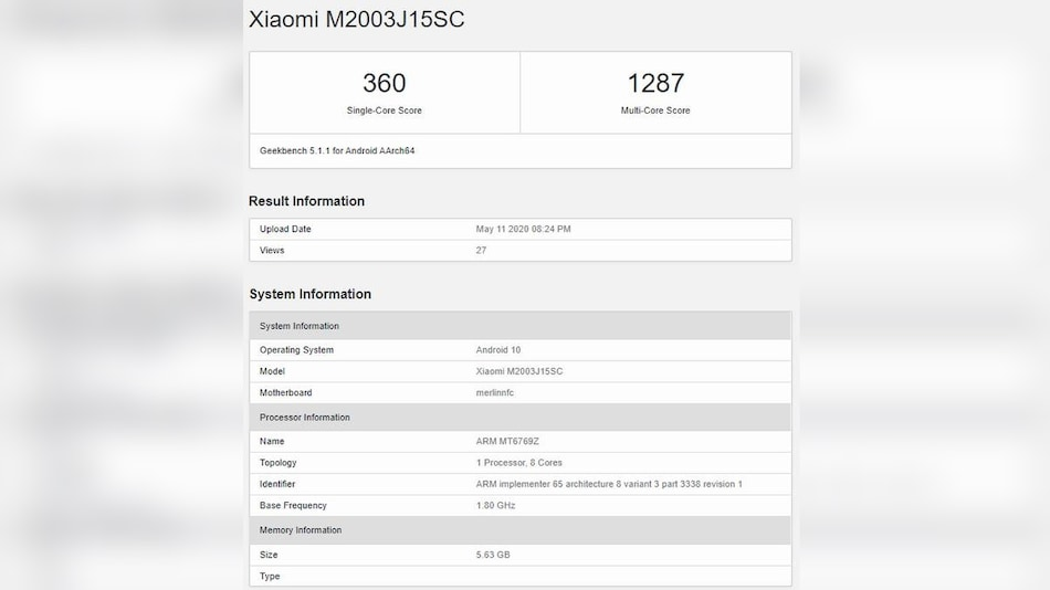 Redmi 10X Specifications Tipped by Geekbench Listing