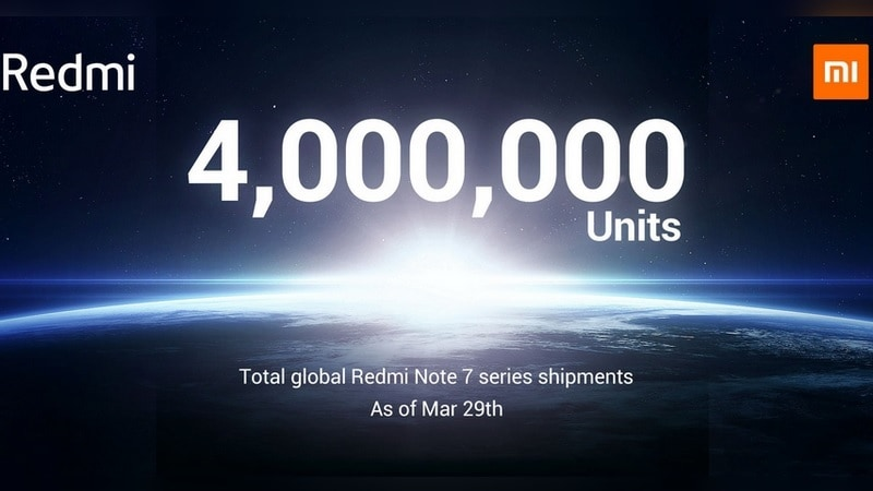 Redmi Note 7 Series Sold 4 Million Units Globally by the End of March: Xiaomi