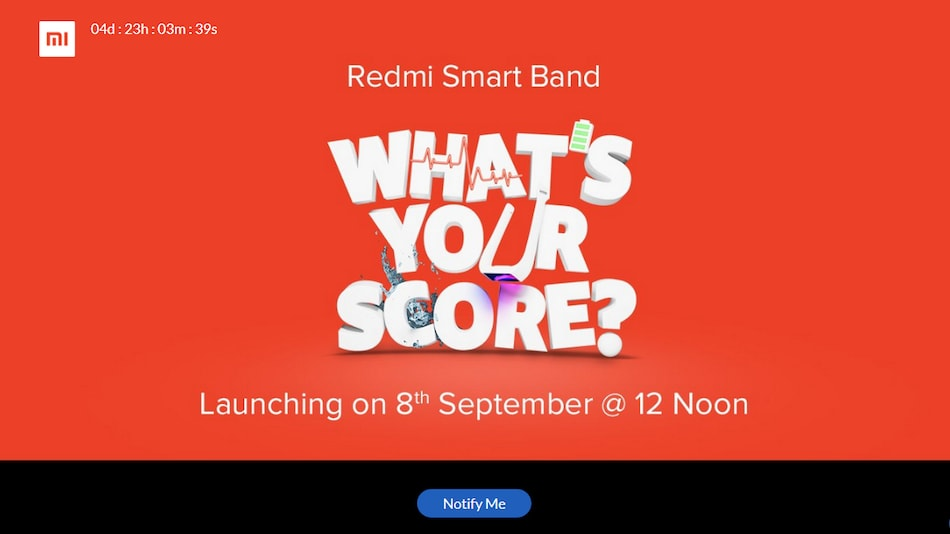 Redmi Smart Band India Launch Set for September 8, Xiaomi Announces