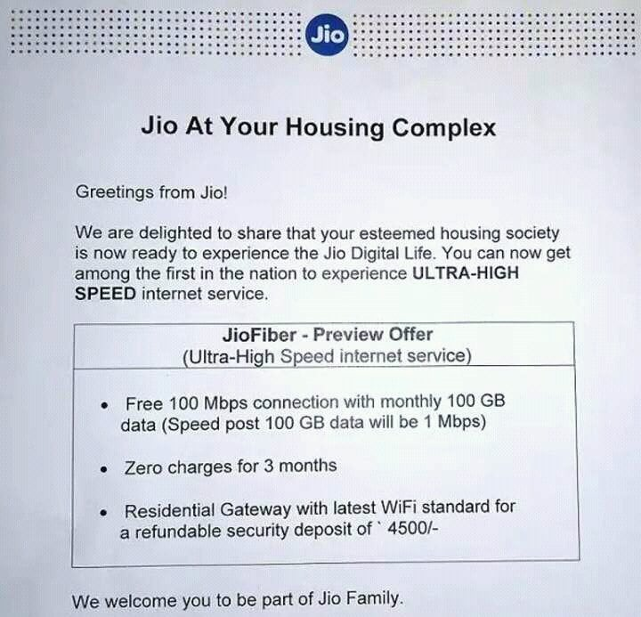 Reliance Jio JioFiber Home Broadband