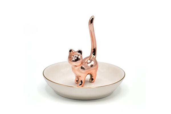 Rose Gold Lucky Cat Cute Kitty Ring Holder Jewelry 1611730902165
