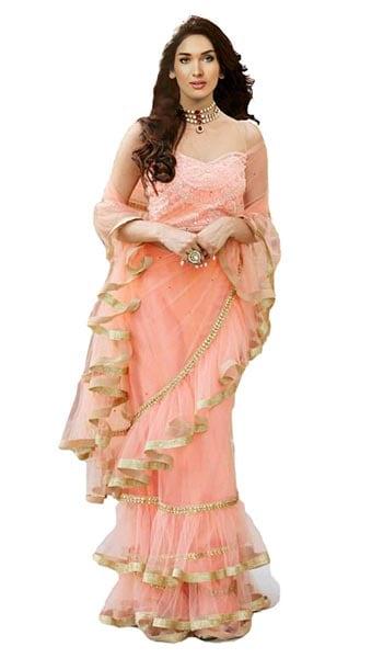 Ruffled Saree Clickedia Women Net Ruffle Saree with Lace border 1555069166650
