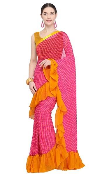 Ruffled Saree Four Seasons Pink Yellow Georgette Printed Ruffle Sari with Blouse 1555070208317