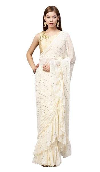 Ruffled Saree Inddus Chiffon Saree With Blouse Piece 1555064599009