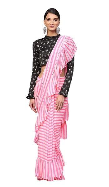 Ruffled Saree Inddus Pink Stripe Geometric Georgette Ruffle Saree 1555071203672
