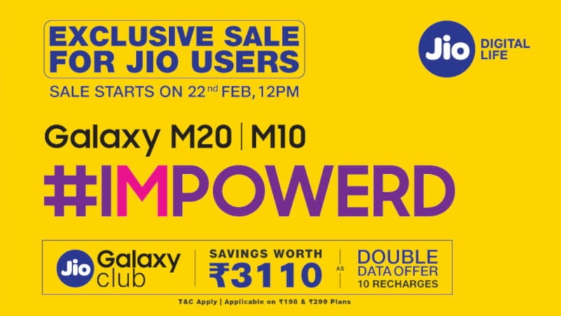 Samsung Galaxy M20, Galaxy M10 Exclusive Sale for Jio Users Today