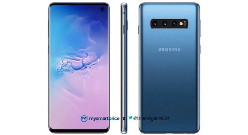 Samsung Galaxy S10 Blue Press Render mysmartprice Samsung Galaxy S10 BLue