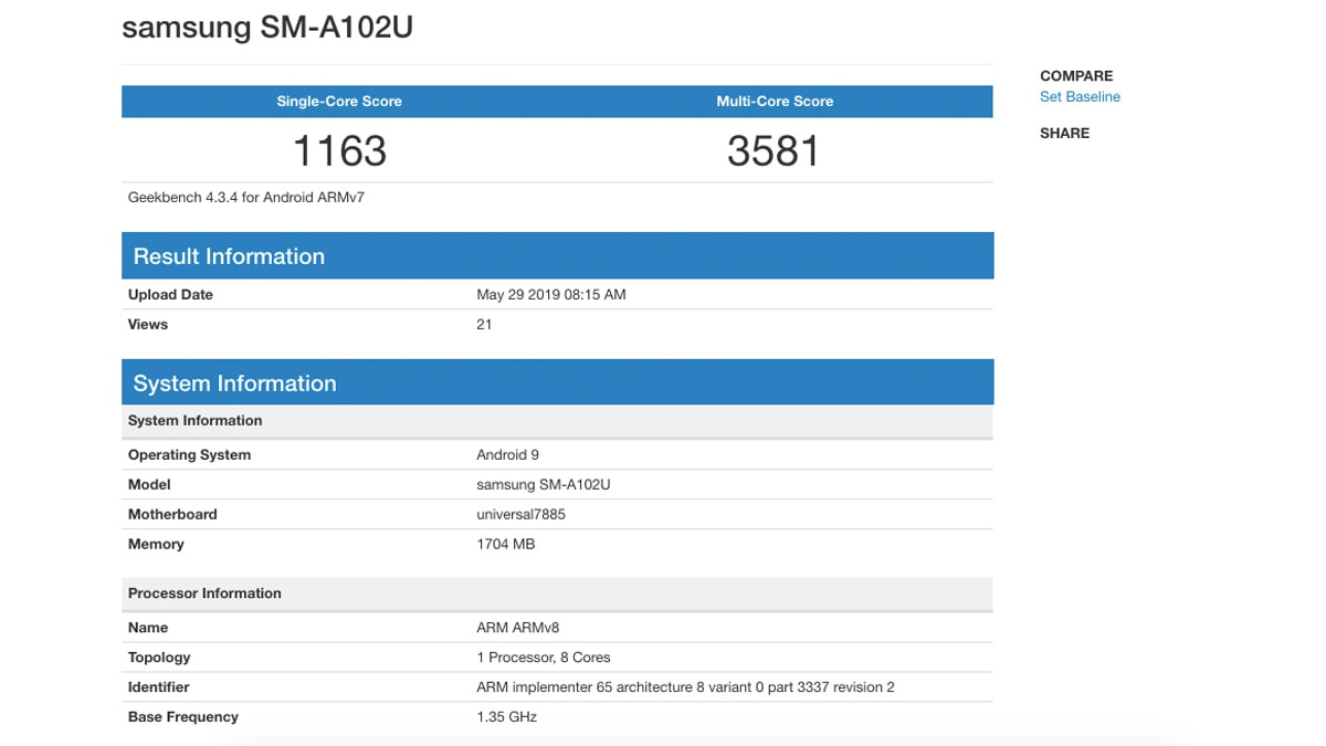 Samsung Galaxy A10e source geekbench Samsung Galaxy A10e Leak