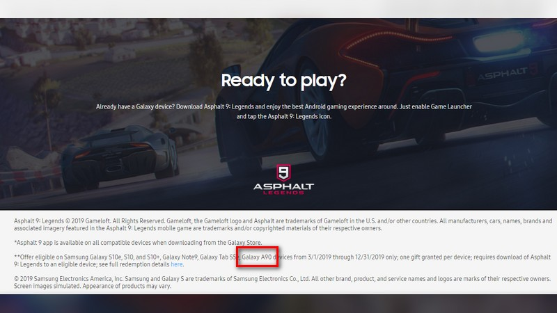 Samsung Galaxy A90 Spotted on Official US Website, Reveals Exclusive Asphalt 9 Content and Freebies