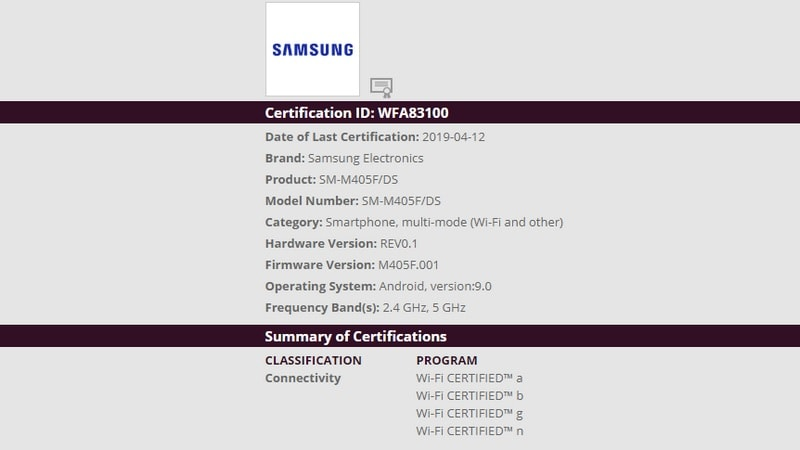 , Samsung Galaxy M40 Running Android Pie Certified by Wi-Fi Alliance, Hints at Imminent Launch, Next TGP