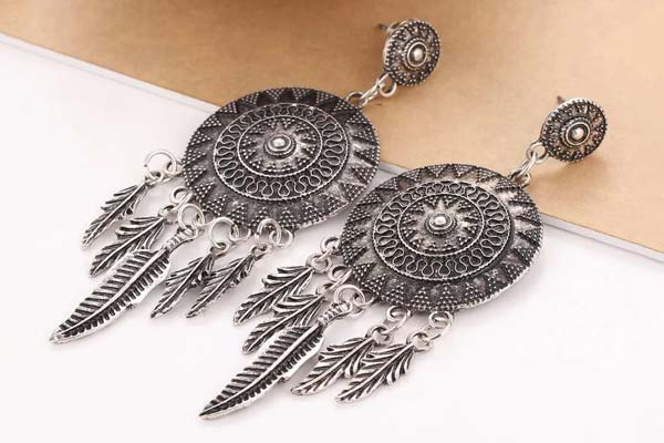 Shining Diva Fashion Jewellery Oxidized Silver Stylish Fancy Party Wear Traditional Earrings 1559027485973