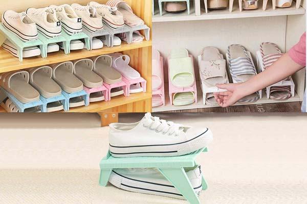 Kurtzy Adjustable Shoe Slots Organizer, Shoe Storage Rack