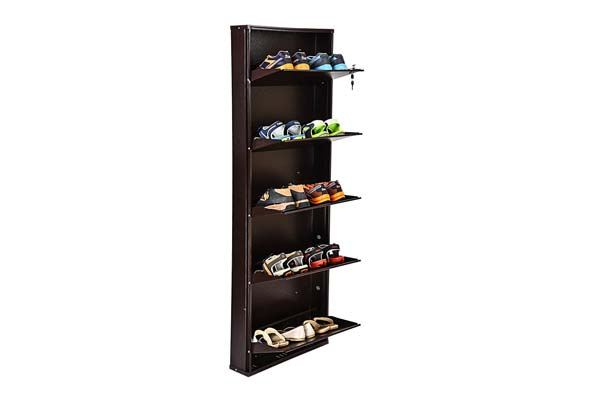 Paffy powder coated 5 door steel shoe rack