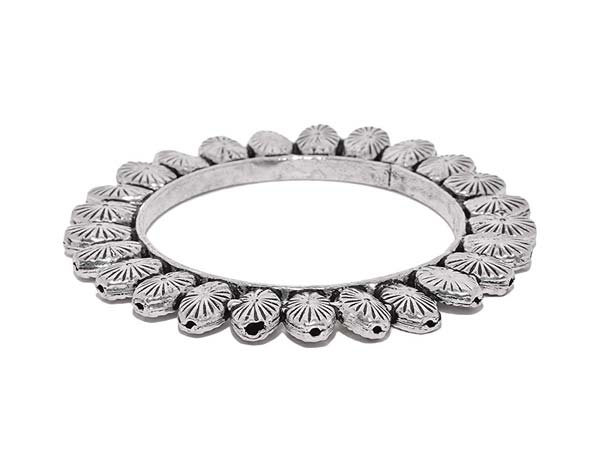 Silver Oxidised Kada Bangles Abhaah Oxidised German Silver rajwadi Traditional Kada Bangle 1556011133496